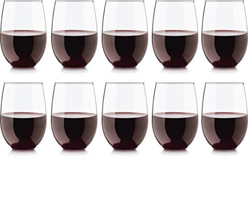 Circleware Uptown Stemless Red Wine Glasses, Huge Set of 10, 18.5 oz, Glassware Glass Drinking Cups for Bar Liquor, Beer, Bourbon, Brandy & - Cup Huge Glass Wine
