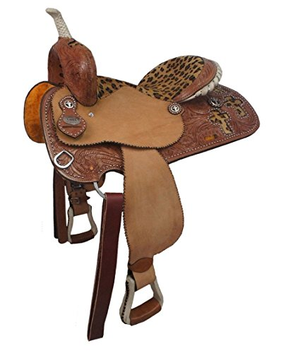 Tahoe Leopard Print Cross Western Barrel Racing Saddle, Tan, 16
