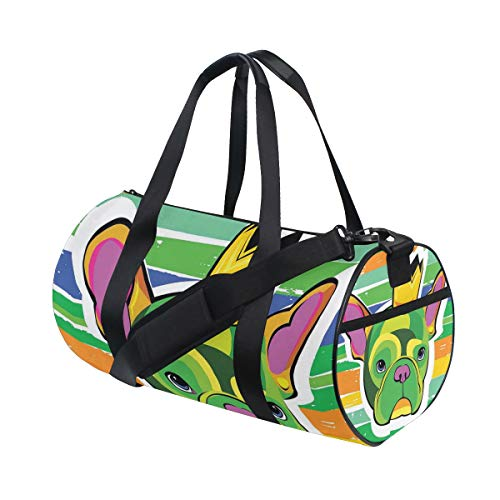 (LONSANT Green French Bulldog Head with Crown On Colorful Grunge Brushstrokes Art Barrel Duffel Bag Sports Yoga Gym Fitness Bag Travel Weekender Bags for Men and Women)