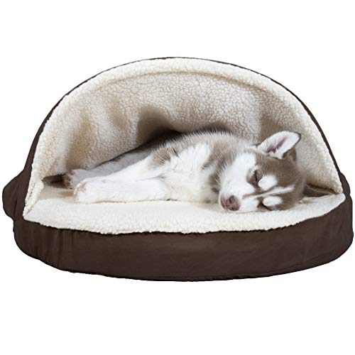 FurHaven Pet Dog Bed | Orthopedic Round Faux Sheepskin Snuggery Burrow Pet Bed for Dogs & Cats, Espresso, 26-Inch