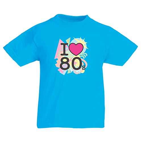T Shirts For Kids I Love 80s Concert t Shirts Vintage Clothing Music t Shirts Band Merch (7-8 Years Light Blue Multi Color)