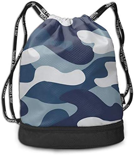 巾着バックパック Bundle Backpack スポーツナップサック 青い迷彩柄 体操服収納 ジムサック 濡れ物用 内ポケット付 巾着袋 収納バッグ 大容量 乾湿分離 シューズ収納 男女兼用 39*41*17.5cm
