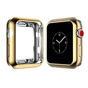 Apple Watch Case for Series 3, Series 2, Series 1 38mm 42mm, Icesnail Apple Watch Plate Soft Slim Protective Cover Bumper for iWatch Nike+, Sport, Edition All Models, 42mm Gold