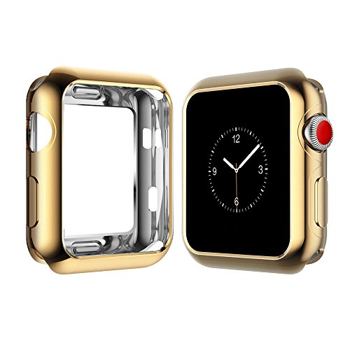Apple Watch Case for Series 3, Series 2, Series 1 38mm 42mm, Icesnail Apple Watch Plate Soft Slim Protective Cover Bumper for iWatch Nike+, Sport, Edition All Models, 38mm Gold