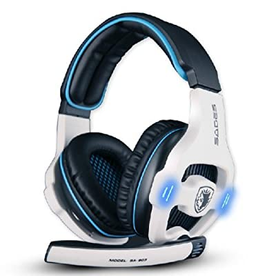 ZPS Sades Stereo 7.1 Surround Pro USB Gaming Headset with Mic Headband Headphone (White) Color: White PC, Personal Computer
