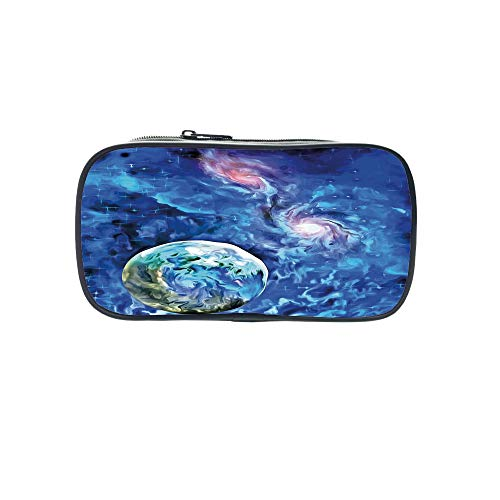 3D Print Design Pen Bag,Constellation,Exo Solar Planet Painting Style Vibrant Universe Awesome Space,Turquoise Blue Light Pink,for Students,Pictures Print Design by iPrint