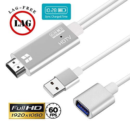 MHL HDMI Adapter HDTV Cable for iPhone iPad Air Mini Pro iPod - Phone to Digital AV Converter Upgraded 1080P 60FPS HD Video Cord Compatible w/X XR 8 7 Plus 6S 6 SE 5S 5C for TV Monitor Projector
