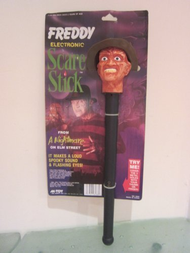 Halloween Nightmare on Elm Street Freddy Krueger Electronic Scare Stick NEVER Released in US, New old stock 1990 Marty Toys, Spooky Sound + Flashing Eyes