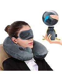 Almohada de Viaje Inflable Relajante Cuello Apoyo Travel Neck Pillow Inflatable para avion vuelos de larga distancia,tren, coche y oficina con cubierta suave lavable,bolsa de transporte y con antifaz para dormir