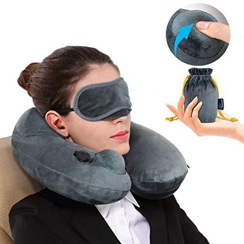 Almohada de Viaje Inflable Relajante Cuello Apoyo Travel Neck Pillow Inflatable para avion vuelos de larga distancia,tren,...