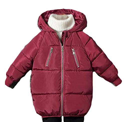 Cromoncent Boy Padded Hooded Quilted Zip Pocket Casual Down Jacket Parka Coat Claret 5T by Cromoncent