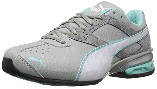 PUMA Women's Tazon 6 Accent WN's Cross-Trainer Shoe, Quarry White-Aruba Blue, 6.5 M US