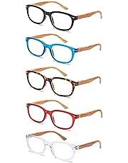 EFE leesbrillen voor mannen vrouwen 5-pack Leesbrillen met vergrootglas met houtnerfontwerp Rechthoekige stijl Lichtgewicht Comfortabel Anti-blauw licht voor antivermoeidheid