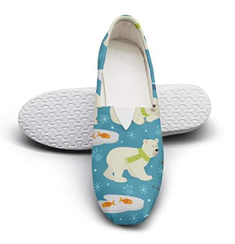 (Seamless pattern polar bear Fairytale Princess Women's Comfort Flat Slip on Shoes Ladies Espadrille Flats)