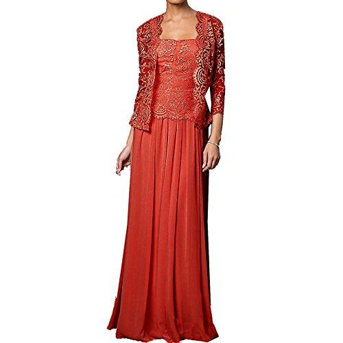 mit Chiffon der Jacken Braut Wraps formale lange HWAN Rot Kleid Kleider Spitze Mutter FAqwf8O