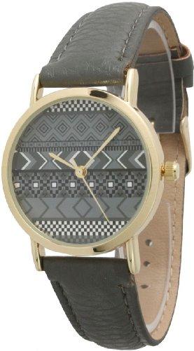 Ladies Aztec Print Leather Watch - Grey