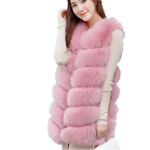 New Winter Warm Women Import Coat Jacket Fur Vest High-Grade Faux Fur Coat Faux Fur Long Vest (M, Pink)