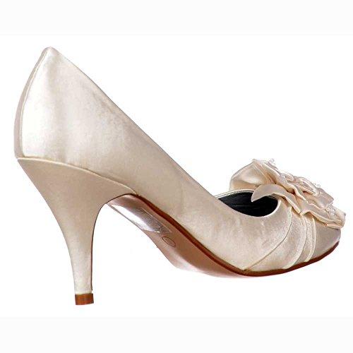 Señoras Zapatos Novia Boda Satén Onlineshoe Mujeres Talón Gatito Y La Ivory De Perla Baja Flores Marfil UqxqXHdzw0