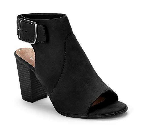 Vionic Women's Perk Blakely Open Toe Slingback Heel – Ladies Peep Toe Booties with Concealed Orthotic Support - Black Leather 8.5M