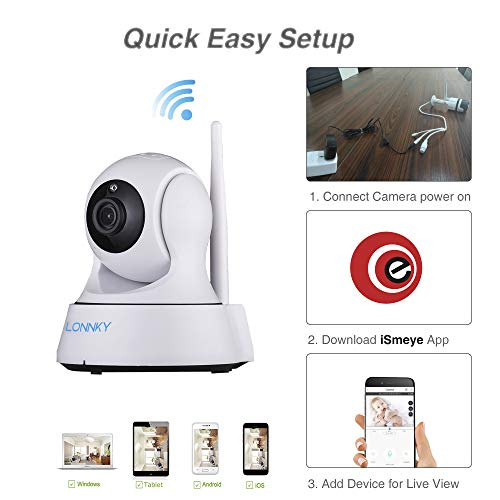 LONNKY 1080P Full HD Wireless WiFi Security IP Camera Indoor,Pan Tilt Zoom Home Video Monitor with 2-Way Audio,Smart Motion Detection and Clear Night Vision for Monitoring Baby, Pets, Nancy, Elder etc