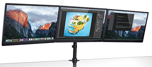 (Mount-It! Triple Monitor Mount 3 Screen Desk Stand for LCD Computer Monitors for 19 20 22 23 24 27 Inch Monitors VESA 75 and 100 Compatible Full Motion, 54 lbs Capacity (MI-1753),Black)