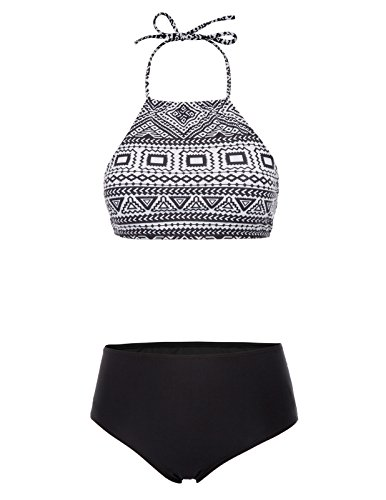 Women Retro Classic Crop Top Bikini Two Piece Swimsuit Banded Swimwear Black L ()