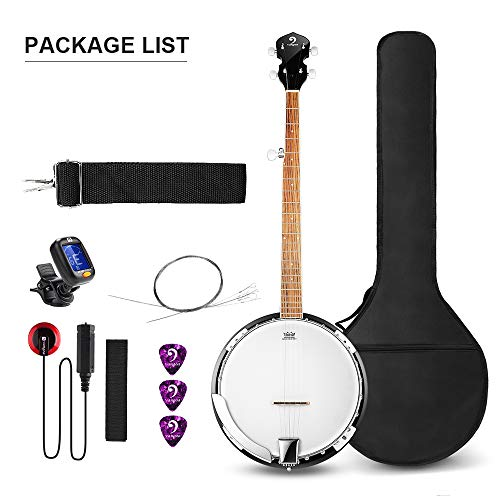 Vangoa 5 String Banjo Remo Head Closed Solid Back with beginner Kit, Tuner, Strap, Pick up, Strings, Picks and Bag by Vangoa (Image #1)