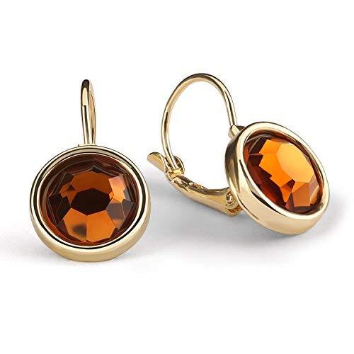 Leverback Earrings,UHIBROS Stainless Steel Cubic Zirconia Round Dangle Drop Earrings