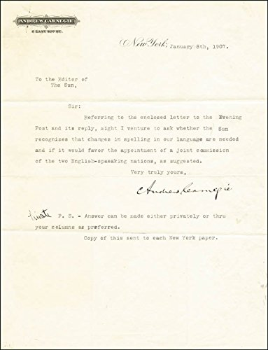 Andrew Carnegie Typed Letter Signed 01/08/1907