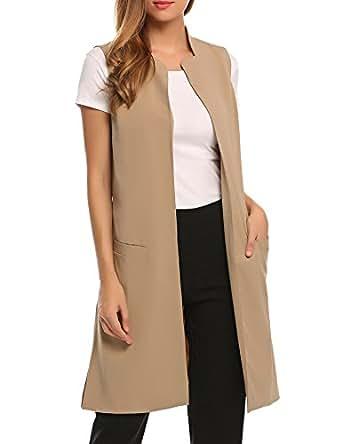 zeagoo Women Sleeveless Vest Trench Coat Long Solid Blazer Waistcoat With Pockets Khaki S