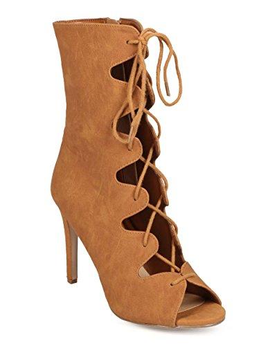 Délicieuses Ee47 Femmes Nubuck Peep Toe Gladiateur Lacets Up Bootil Stiletto - Tan