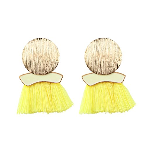 Clearance Earrings,Lethez 11.5cm Bohemian Round Tassel Fringe Dangle Earring Ethnic Round Ear Stud Drop Earrings (Yellow)