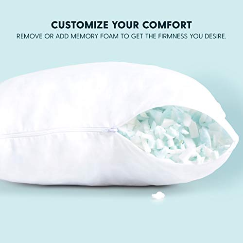 Milliard 18x18 Pillow Inserts Shredded Memory Foam Cushion Firm & Plush Decorative Couch Pillow More Long-Lasting Support Than Regular Pillows (4 Pack)