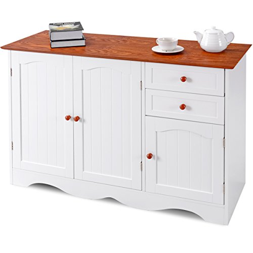 Giantex Buffet Storage Cabinet Kitchen Dining Room Furniture with 2 Drawers and 3 Cabinets for Additional Storage Space Console Table, White & Coffee - Heights Buffet