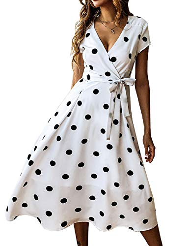 PRETTYGARDEN Women's Casual Wrap V Neck Short Sleeves Polka Dot Printed Boho Beach Midi Dress with Belt (White, Medium)