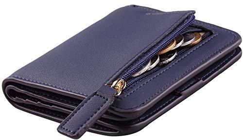 Toughergun Womens Rfid Blocking Small Compact Bifold Luxury Genuine Leather Pocket Wallet Ladies Mini Purse with ID Window (ReNapa Blue Navy)
