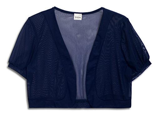 EVogues Plus Size Sheer Cropped Bolero Shrug Navy Blue - 2X