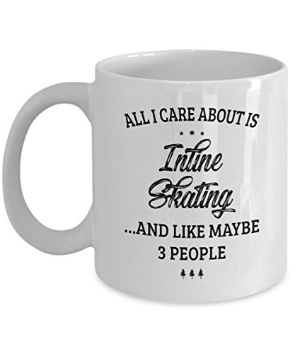 Inline Skating Mug - I Care And Like Maybe 3 People - Funny Novelty Ceramic Coffee & Tea Cup Cool Gifts for Men or Women with Gift Box