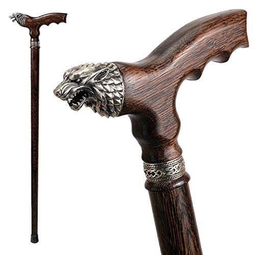 (Fancy Walking Canes for Men - Direwolf - Fashionable Handcrafted Wooden Canes and Walking Sticks - Wolf Head Cane)