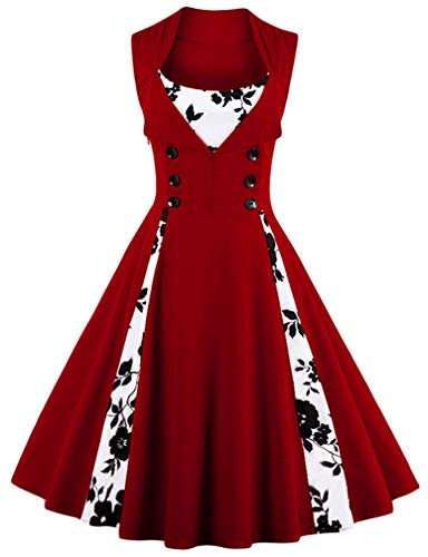 KILLREAL Women's Vintage Floral Print Sleeveless Casual Rockabilly Cocktail Dress Wine Red/White X-Large