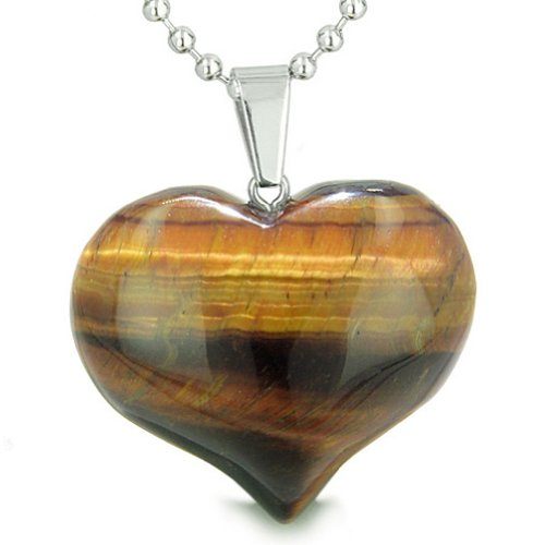 Eye Tigers Quartz Necklace - Amulet Large Puffy Heart Red Tiger Eye Evil Eye Protection Powers Pendant 22 Inch Necklace