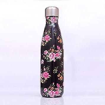 Phcom Flamingo Botella de agua termo de doble pared de acero inoxidable aislado al vacío taza de senderismo bicicleta botella de agua F, 500 ml, color D, tamaño 500 ml
