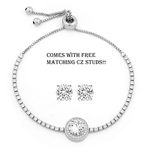 yoursfs 18K White Gold Plated Necklace and Earring Set Silver - 8