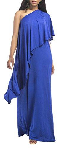 Jaycargogo Femmes Manches Élégante Couleur Unie Une Épaule Robe Maxi Jabot Soir Bleu Foncé