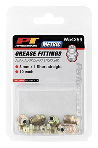 Short Carbine - Performance Tool W54259 8mm x 1mm Short Straight Grease Fitting, (Pack of 10)