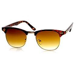 zeroUV - Retro Classic Metal Half Frame Horn Rimmed Sunglasses