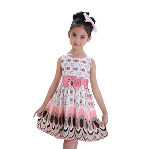 Moonker Kids Girls Bow Belt Sleeveless Bubble Peacock Princess Dress Birthday Party Wedding Dresses Clothes 3-7 T (Pink, 5-6 Years Old)