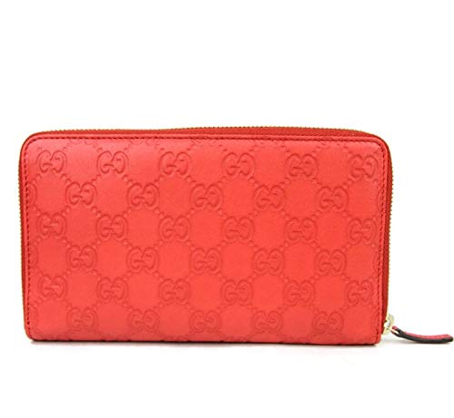 (Gucci Unisex Coral Red Guccissima Leather Wallet Zip Around Travel Clutch 321117 6511)