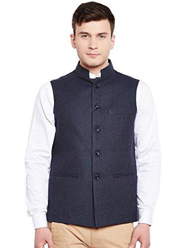 WINTAGE Men's Wool Blend Grandad Nehru Jacket Vest Waistcoat: Navy, ()