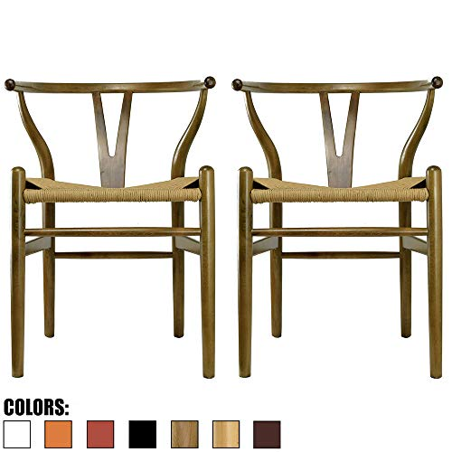 (2xhome Set of 2 Walnut Wishbone Wood Armchair with Arms Open Y Back Open Mid Century Modern Contemporary Office Chair Dining Chairs Woven Seat Brown Living Desk Office)